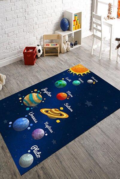 Grey Home Greyhome Dijital Baskılı Yıkanabilir Gezegen-uzay Desenlı Çocuk Odası Halısı 733