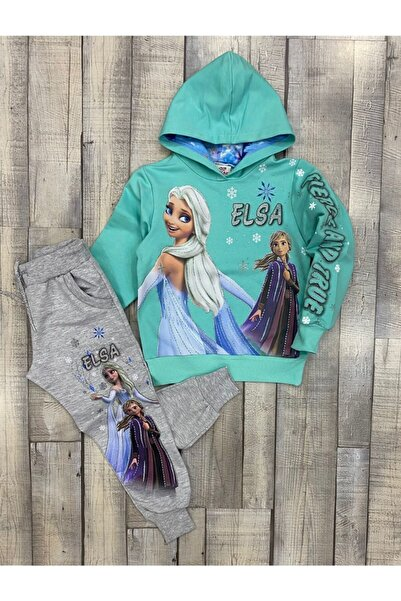 YASER COCUK Kız Çocuk Kapşonlu Elsa Takım