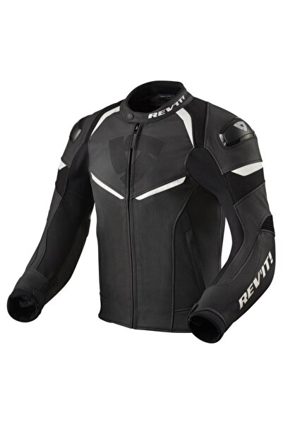 Revit Conwex Motosiklet Deri Ceketi Siyah Beyaz