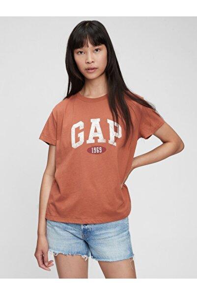 GAP Kadın Kahverengi Logo T-shirt