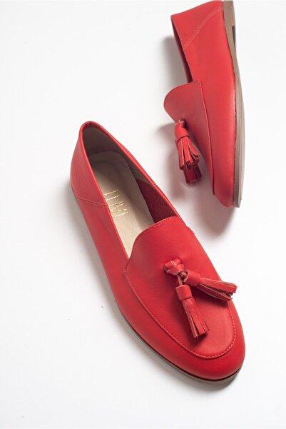 LuviShoes F04 Kırmızı Cilt Hakiki Deri Ayakkabı