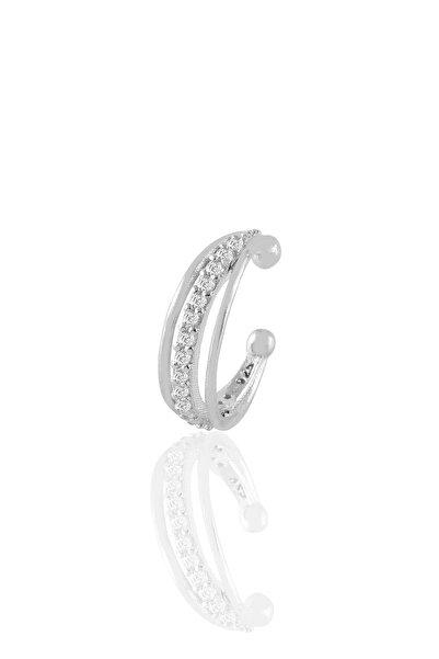 Söğütlü Silver Gümüş Rodyumlu Zirkon Taşlı Üç Sıra Görünümlü Sıkıştırmalı Tekli Kıkırdak Küpe