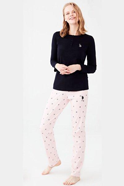 U.S. Polo Assn. %100 Pamuklu Yakası Düğmeli Lacivert Pijama Takım