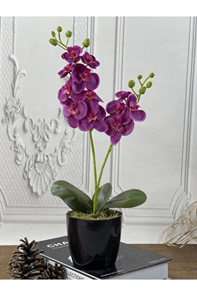 Nettenevime Yapay Çiçek Fuşya Renk Orkide Siyah Saksıda 48cm 2dallı