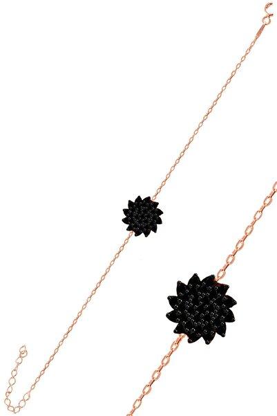 Söğütlü Silver Gümüş Rose Siyah Taşlı Güneş Bileklik