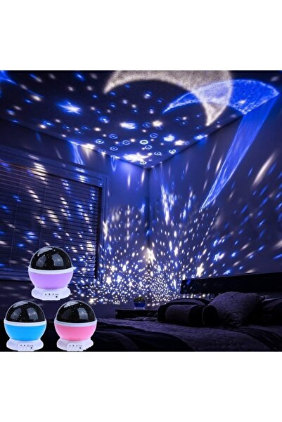 Pofudukkan Renkli Ay Yıldız Tavan Yansıtma Pilli Led Gece Lambası Gökyüzü Projeksiyonlu Dönen Küre