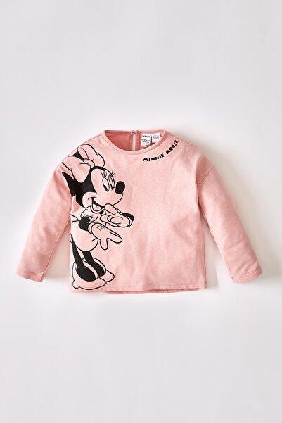 DeFacto Kız Bebek Minnie Mouse Lisanslı Pamuklu Uzun Kollu Tişört V5759A221AUP