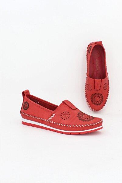Deripabuc Hakiki Deri Kırmızı Kadın Deri Babet Dp16-0065