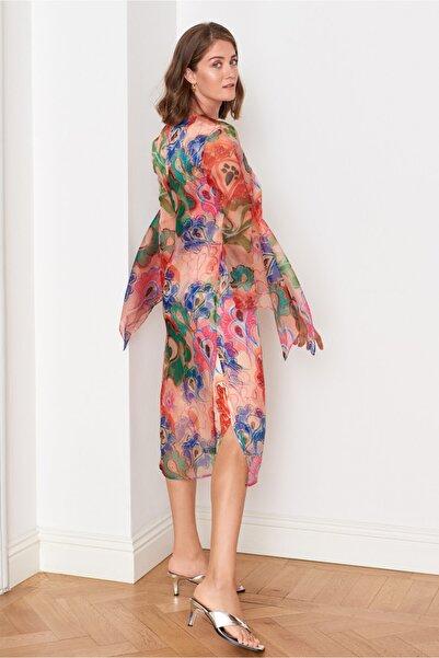 Mehtap Elaidi Desenli Organze Elbise