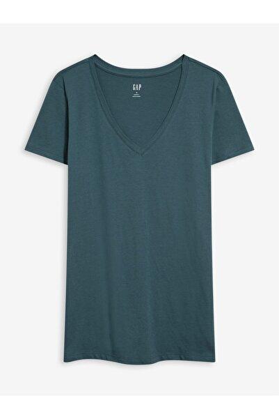 GAP Kadın Yeşil Favorite V Yaka T-shirt