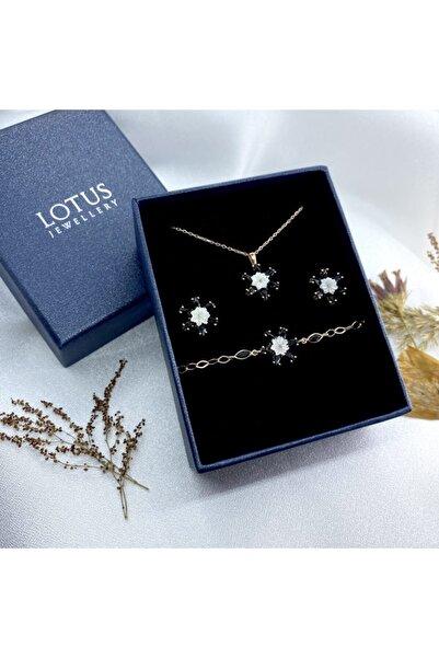 LOTUS JEWELLERY Sedefli Lotus Çiçeği Rose Gold Bileklik Küpe Ve Kolye Seti - 925 Ayar Gümüş Set