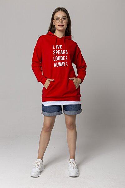 ZİNDİ Kadın Kendinden Tişörtlü Sweatshirt Kırmızı