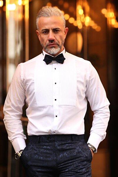 Fc Plus Erkek Beyaz Pliseli Ata Yaka Pamuk  Slım Fıt Gömlek