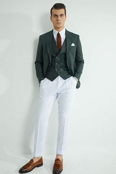 Fc Plus Erkek Yeşil Düz Yelekli Ceket