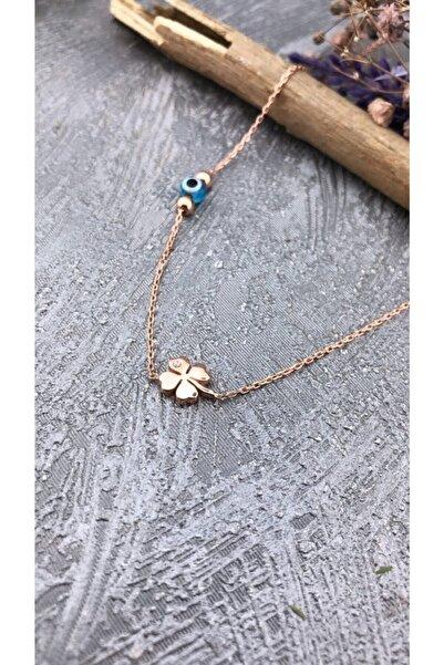 Joel Jewelry Nazar Boncuğu Detaylı Dört Yapraklı Yonca Model Pembe Altın Kaplamalı Gümüş Kolye