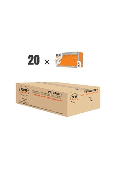 One Plus1 Lateks Pudralı Muayene Eldiveni (20×100'lü Paket) (l)