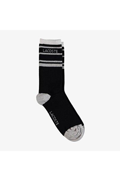 Lacoste Kadın Uzun Baskılı Siyah Çorap