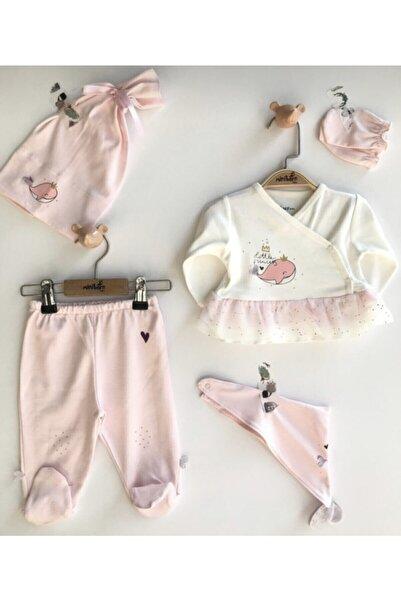 VERONA TARZ Kız Bebek Pembe Balina 5li Hastane Çıkış Seti Yenidoğan Kıyafeti