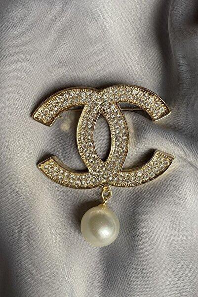Nillaİstanbul Chanel Model Inci Taşlı Tasarım Broş