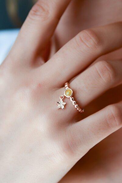 Papatya Silver 925 Ayar Gümüş Sarı Ay Taşlı Yıldız Motifli Ayarlanabilir Kadın Yüzük