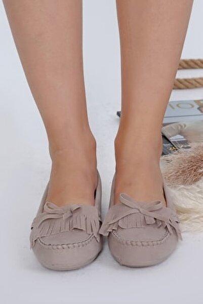 Kadın Bej Püsküllü Günlük Casual Sneaker Babet Ayakkabı Byndmot03