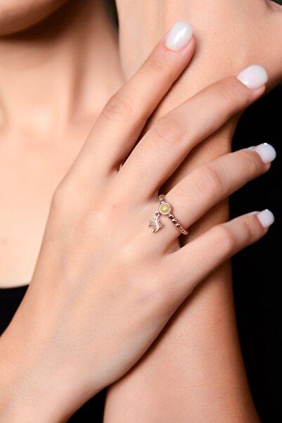 Papatya Silver 925 Ayar Gümüş Sarı Ay Taşlı Kırlangıç Motifli Ayarlanabilir Kadın Yüzük