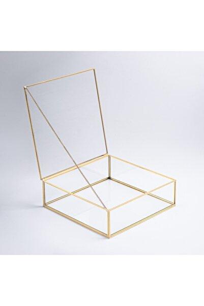 El Crea Designs Gold Pirinç Brass Dekoratif Kapaklı Cam Takı, Makyaj, Aksesuar Kutusu 28x28x8cm