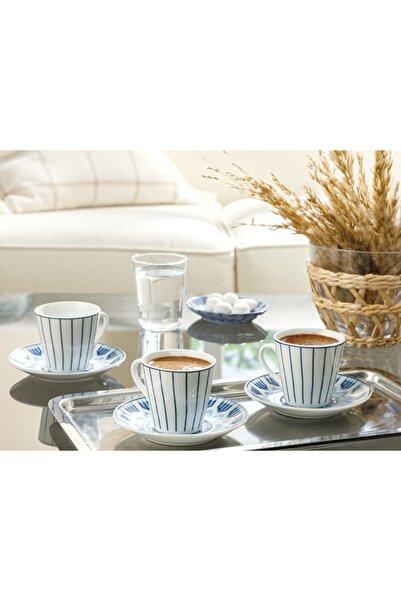 English Home Adelmo Porselen 6 Kişilik Kahve Fincan Takımı 80 ml Lacivert