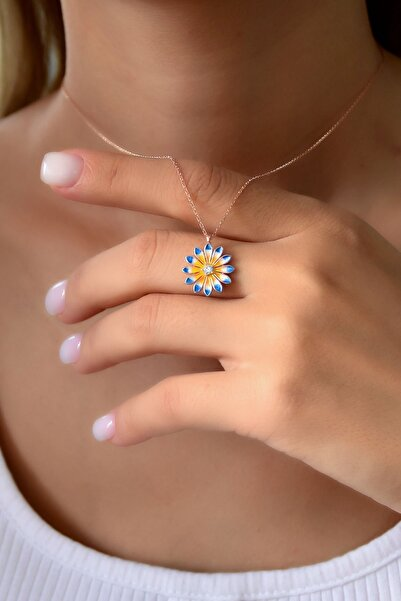 Papatya Silver 925 Ayar Gümüş Rose Kaplama Mavi Sarı Mineli Papatya Kadın Kolye
