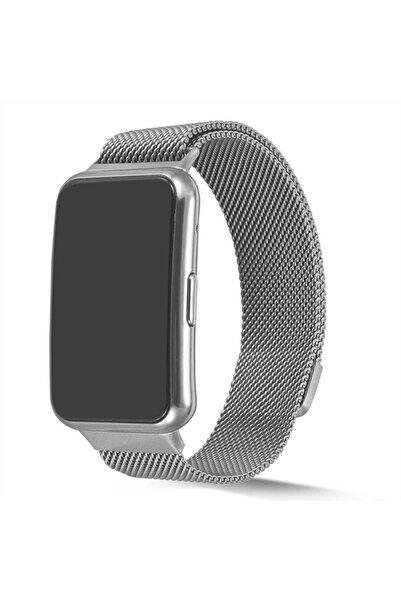 Huawei Watch Fit Uyumlu Hasır Tasarım Mıknatıslı Ayarlanabilir Metal Kordon (SAAT DEĞİLDİR)