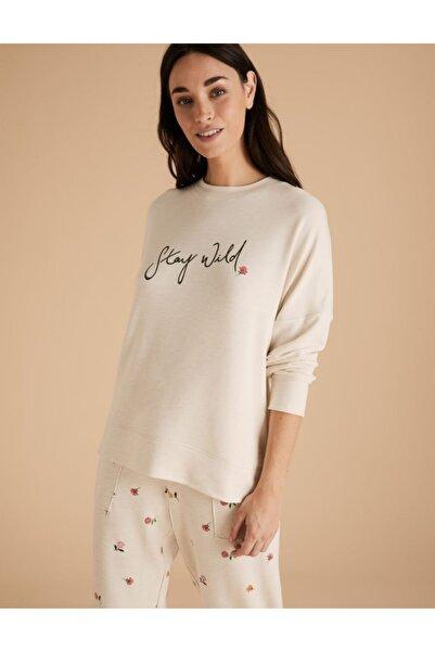 Marks & Spencer Sloganlı Uzun Kolu Pijama Üstü