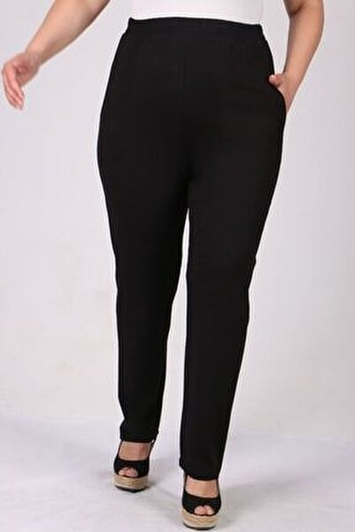 9160 Büyük Beden Penye Yüksek Bel Lastikli Pantolon - Siyah