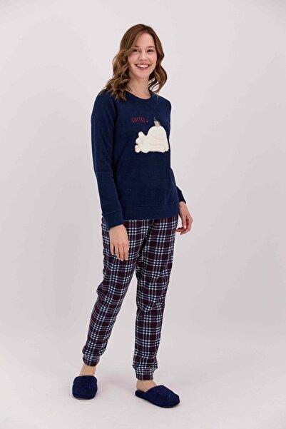 Arnetta Coffee Ekoseli Lacivert Kadın Polar Pijama Takımı