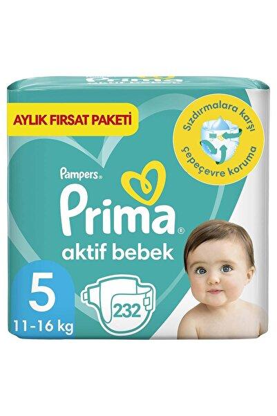 Prima Bebek Bezi Aktif Bebek 5 Beden 232 Adet Junior 2 Aylık Fırsat Paketi (116x2)