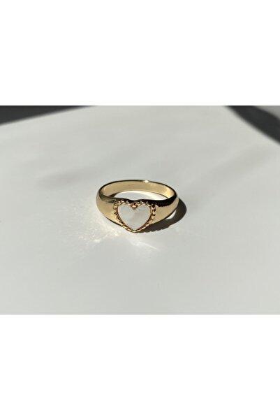 Alya Jewelry Altın Kaplama Beyaz Kalpli Yüzük