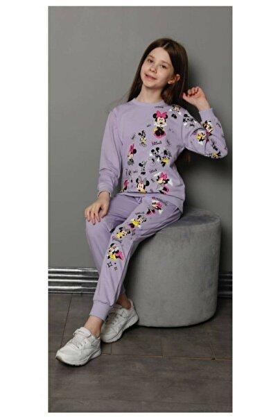 pijama moda Kız Çocuk Mor Renkli Mickey Desenli Eşofman Takımı . Cepli