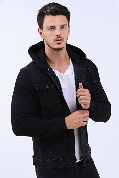 LTC Jeans Erkek Siyah Kollar Polar Kapüşonlu  Kot Ceket