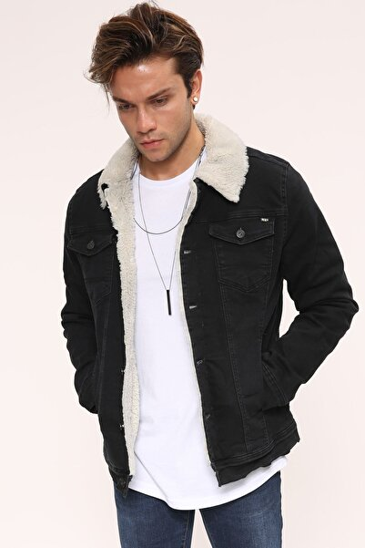 LTC Jeans Erkek Beyaz Siyah Kot Ceket