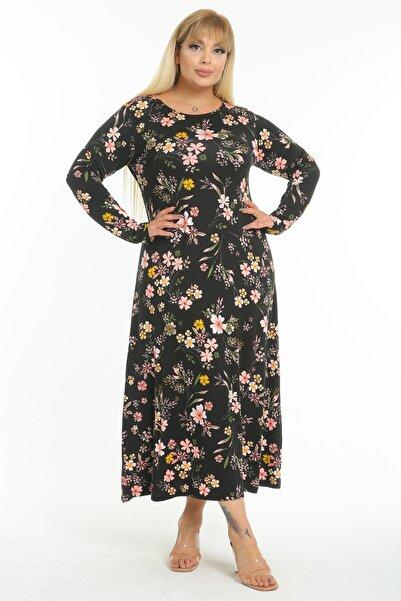 Mooi XXL Kadın Siyah Pembe Kırçiçeği Desen Büyük Beden Maksi Elbise