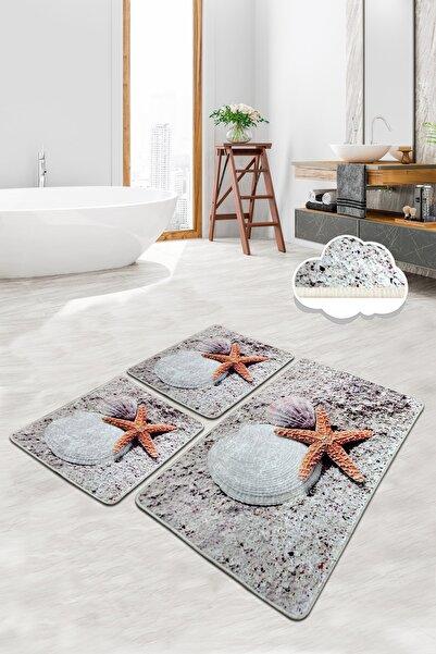 Chilai Home Starfısh 3 Lü Set Banyo Halısı Paspas Yıkanabilir Kaymaz Taban Klozet Takımı