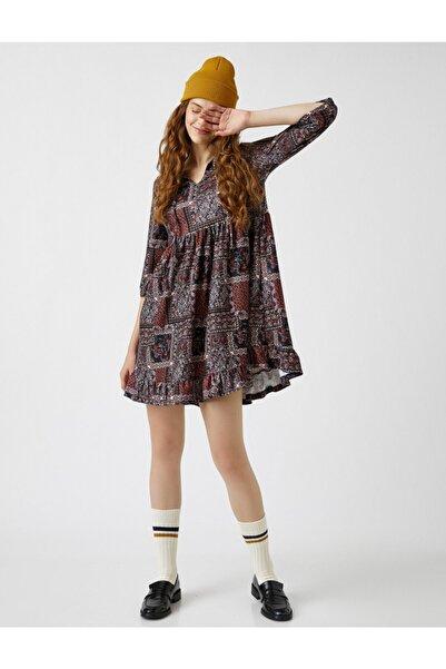 Koton Etnik Desenli Elbise Firfirli Mini