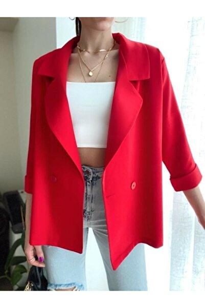 Valeria Vilson Kadın Kırmızı Oversize Kruvaze Yaka Blazer Ceket Önden Çift Düğmeli