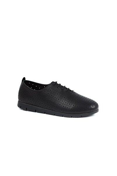 Beta Hakiki Deri Kadın Siyah Casual Ayakkabı
