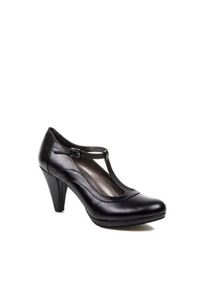 Beta Hakiki Deri Kadın Siyah Topuklu Ayakkabı