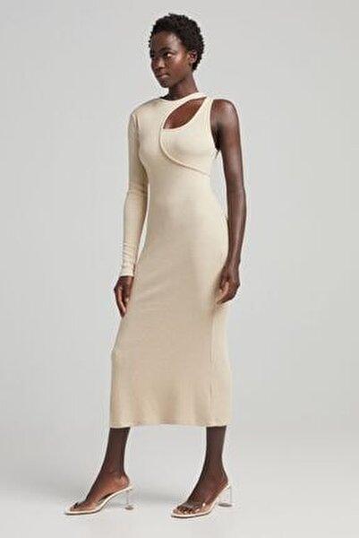 Pencere Detaylı Asimetrik Midi Elbise