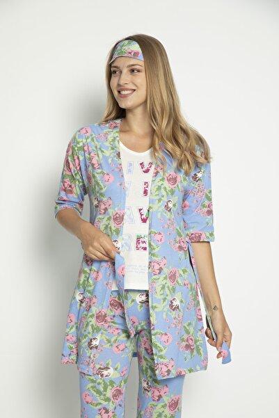 pe lingerie Kadın Penye 5'li Set Sabahlık Pijama Takım