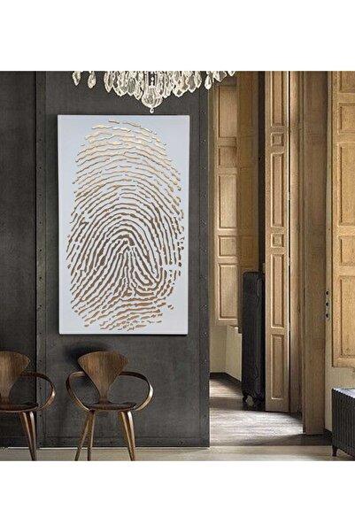 EchoArt Enamil Serisi Beyaz Altın Boyalı 3 Boyutlu Parmak Izi Tablo