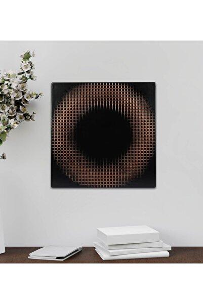 EchoArt Square Serisi Siyah Üzeri Bakır Boyalı 3 Boyutlu Tablo