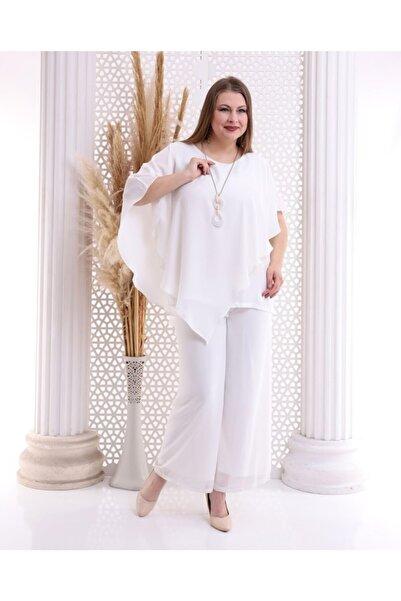 Mankens Fashion Yarasa Kol Asimetrik Desenli Bluz