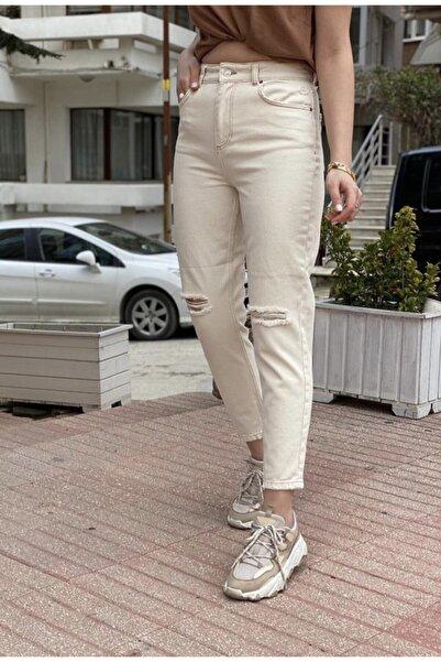 KAROL Dizi Yırtık Mom Jeans